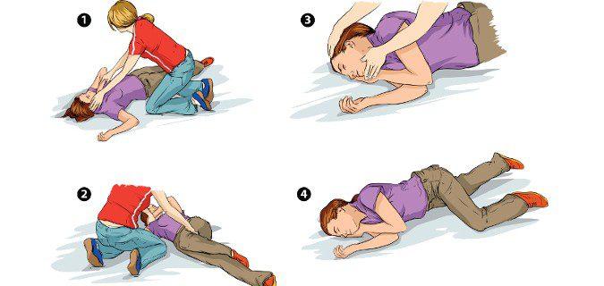 Si no hay hemorragias ni fracturas, colocaremos a la persona de lado para prevenir que se ahogue